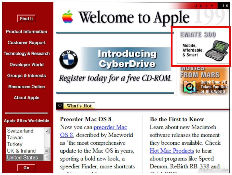 你知道1997年的苹果官网在卖什么产品吗?